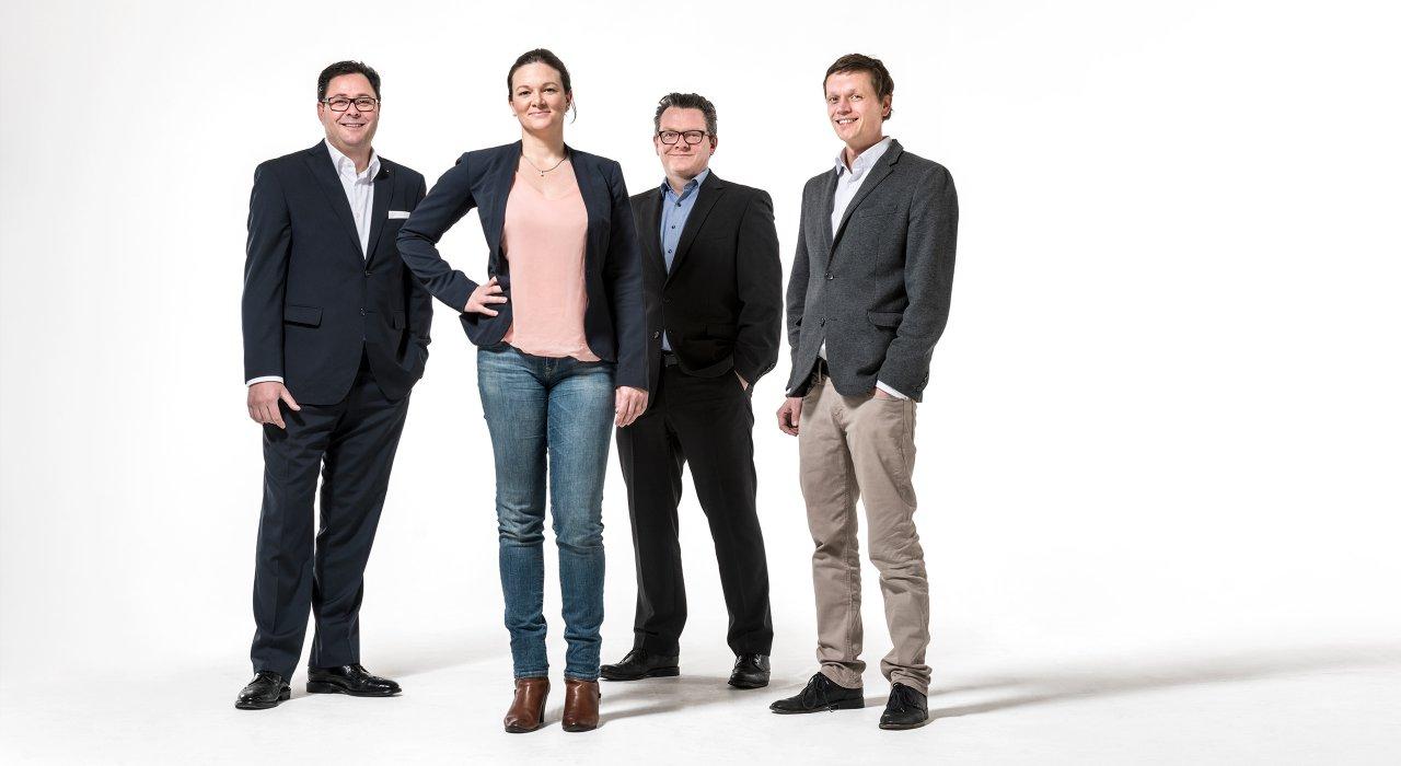 Der Führungskreis der IFFLAND AG aus Alexander W. Bohlender, Katharina Engels, Mathias Witte und Gilbert Kapaurer.