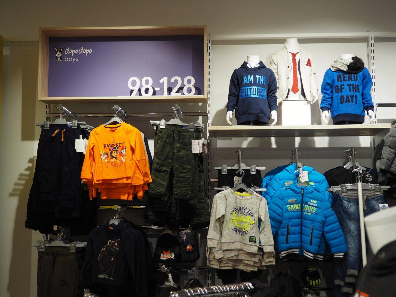 3-D Buchstaben Größenverlauf als Bereichsbeschilderung bei Takko fashion.