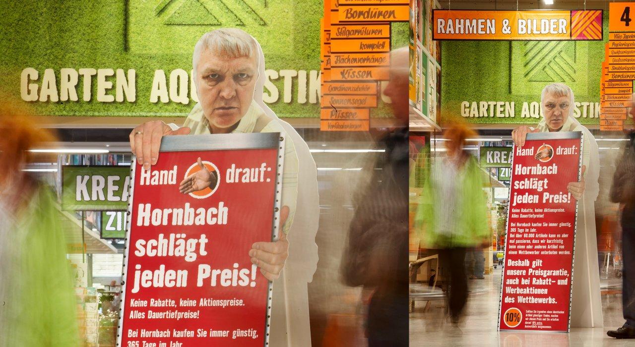 Hornbach Dach-Aufsteller als Kundenstopper.